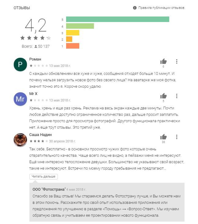 отзывы о фотостране с гугл плей